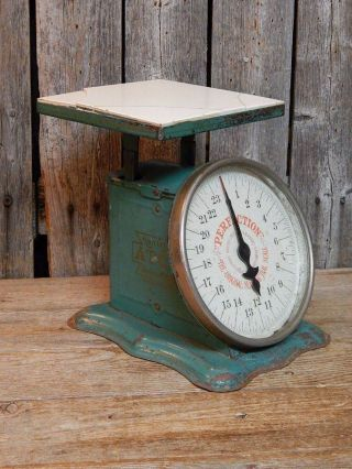 Antique 1906 Kitchen Scale Teal Green Great Primitive Farm House Decor photo