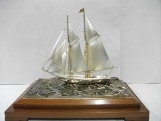 Huge Sailboat Of Silver960 Of Japan.  200g/ 7.  04oz.  2masts.  Takehiko ' S Work photo