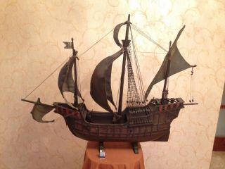 Antique Wooden Model Of Christopher Columbus Ship Santa Maria photo