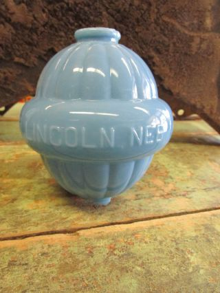 Antique Lightning Rod Glass Ball Robins Egg Blue Wc Shinn Farm Barn Lincoln Ne photo