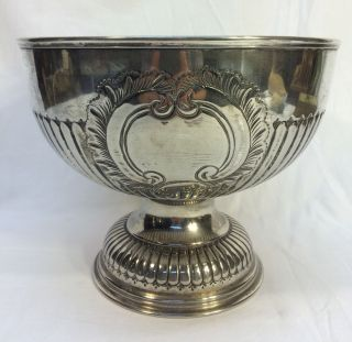 Vintage Silverplate Fruit Punch Bowl Champagne Bucket Wine Cooler Marked photo