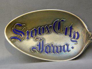 Antique Sioux City Iowa Enameled Sterling Silver Souvenir Spoon photo