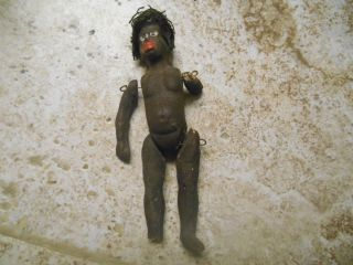 Antique Primitive Handmade African American Clay Doll Found In 1970 Estate photo