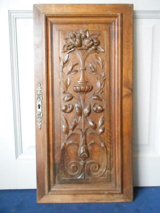 Antique French Carved Walnut Architectural Panel Door 26.  50