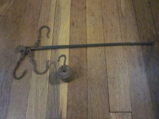 Primitive 18th 19th C Hand Forged Iron Balance Scale & Weight Aafa Nr photo