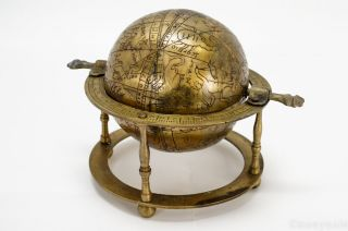 Brass Celestial Globe W/ Islamic Engraved Arabic Script Zodiac Symbols photo