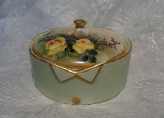 T & V Limoges France Hand Painted Porcelain Stud Collar Button Box French C1900 photo