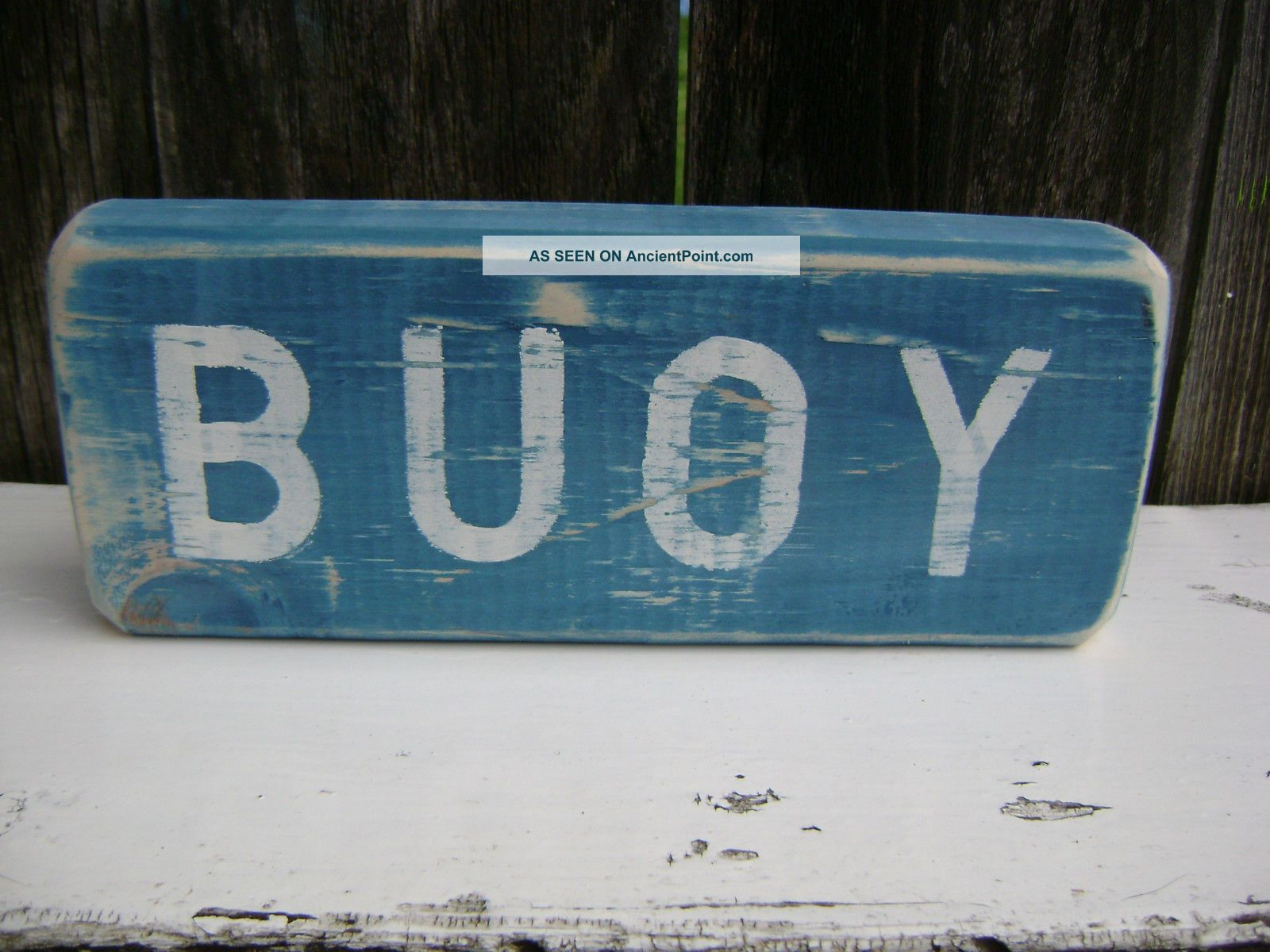 9 Inch Wood Hand Painted Buoy Sign Nautical Seafood (s104) Plaques & Signs photo