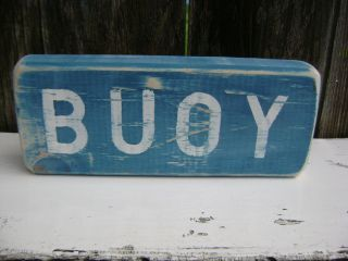 9 Inch Wood Hand Painted Buoy Sign Nautical Seafood (s104) photo