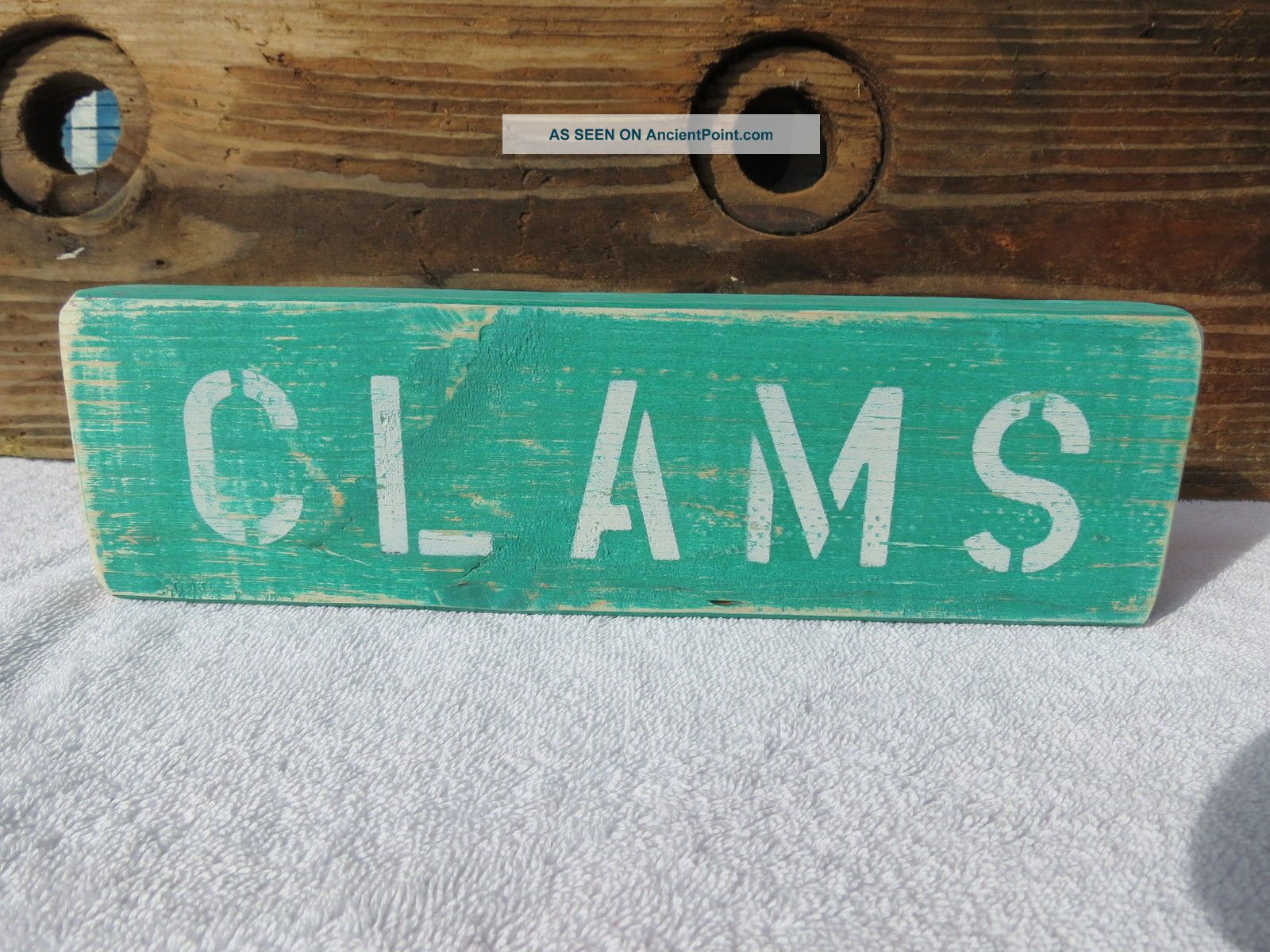 12 Inch Wood Hand Painted Clams Sign Nautical Seafood (s348) Plaques & Signs photo