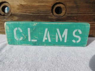 12 Inch Wood Hand Painted Clams Sign Nautical Seafood (s348) photo