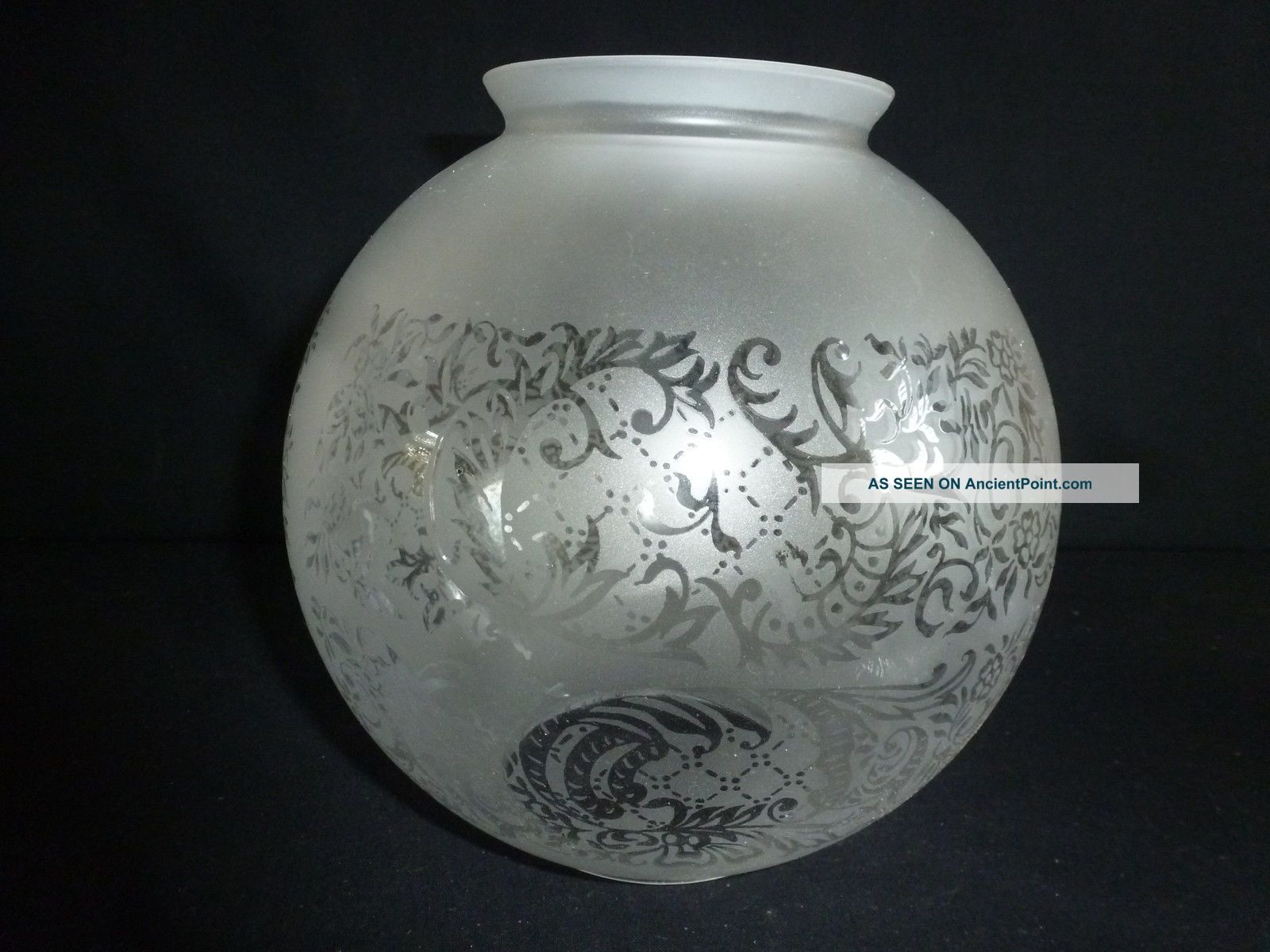 Large Round Etched Glass Oil Lamp Shade 20th Century photo