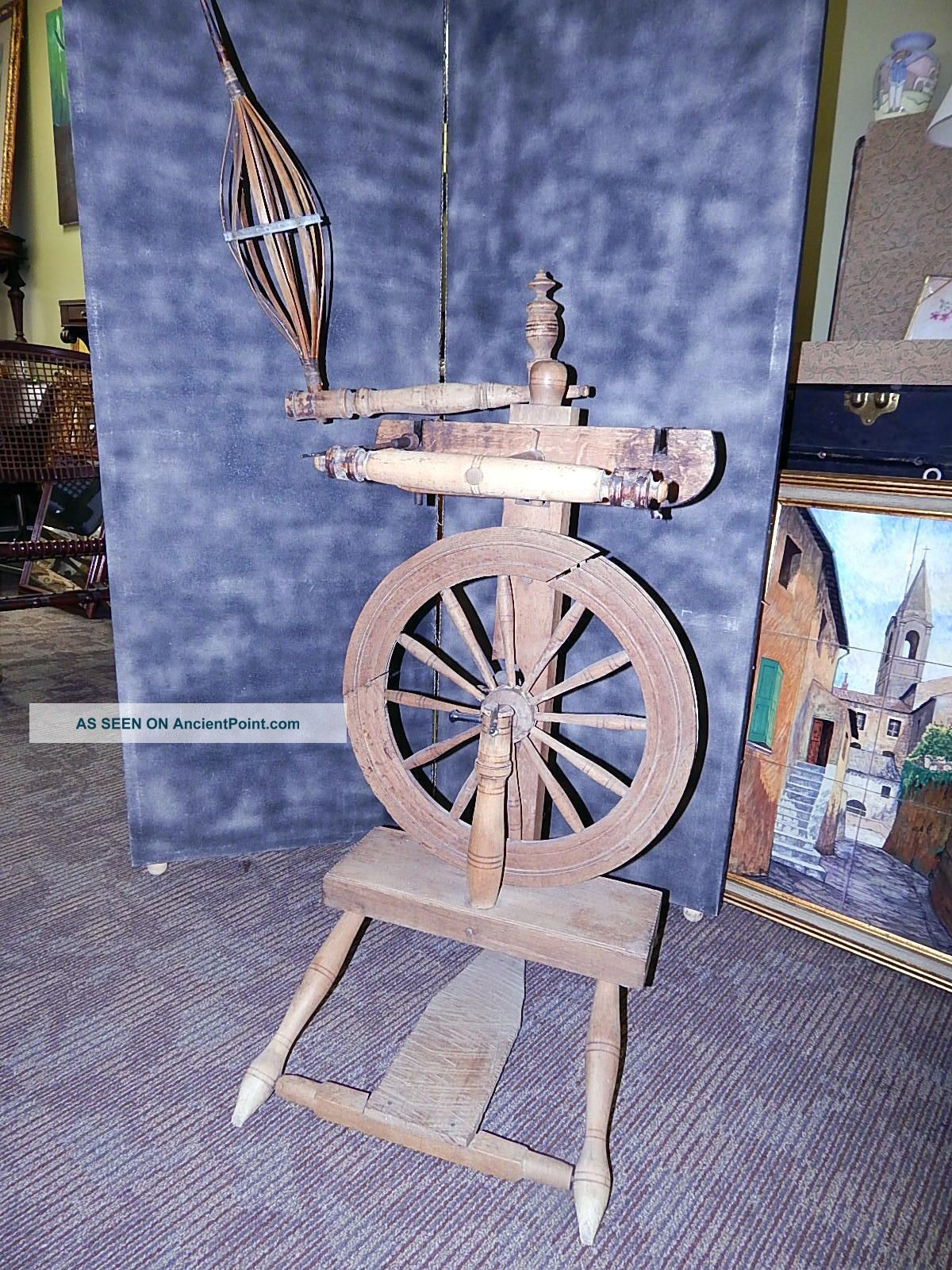 Antique Upright Spinning Wheel Castle Flyer Saxony Style Spindle P Murray Other Antique Sewing photo