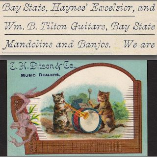 1800 ' S Antique Bay State Banjo Haynes Wm B Tilton Guitar Zither Advertising Card photo