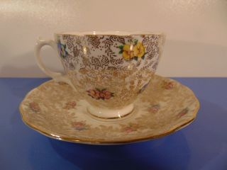 Vintage Floral Coffee Cup And Saucer By Mayfair Bone China photo