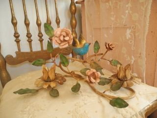 Vintage Italian Tole Bird With Pink Roses Candleholder photo