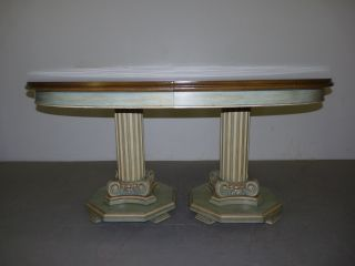 Vintage French Provincial Dining Table Inlaid Top W/ Column Form Pedestal Base photo