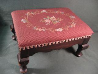 Vintage Needlepoint Mahogany Footstool photo