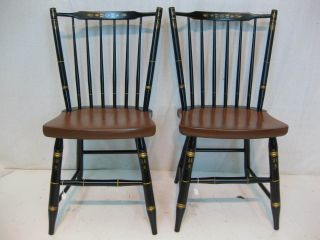 Hitchcock Chair Co Black/harvest Stickback Side Chairs Usedhitchcockdotcom photo