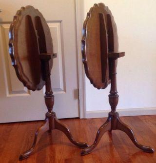 Antique Gerogian Style Walnut Tilt Top Tables 3 Leg Pie Plate Edge photo
