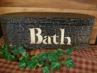 Primitive Country Bath Bathroom Decor Storage Box With Lid Crackled Black photo