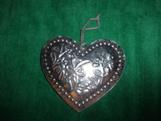 Primitives Decor Tin Punched Heart Ornament Kitchen Country Farm Primitive photo
