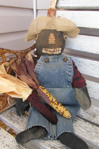 Primitive Halloween Grungy Olde Pumpkin Scarecrow Elwood P photo