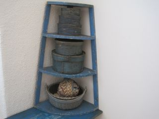 Old Robins Egg Blue Paint Primitive Corner Shelves Found In Maine Great Find photo