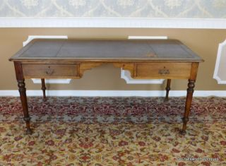 Antique Irish 19th Century Oak Leather Top Writing Desk Table C1880 photo