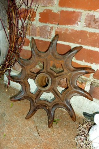 Antique Cast Iron Rotary Wheel Hoe Farm Cultivator 16