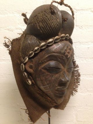 Gabon: Tribal Old African Female - Punu Mask With Brass Face. photo