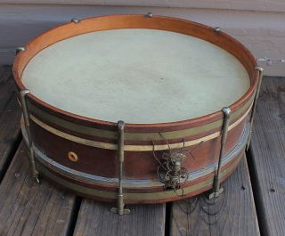 Antique Vintage Wood Wooden & Brass Snare Drum 16 X 6 photo
