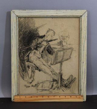 Antique Circa 1900 Thomas Hunt,  Charcoal Drawing,  Man Playing Flute,  Nr photo