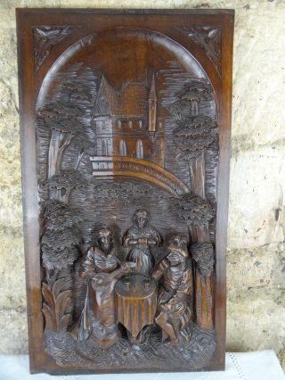 Antique French 19th Architectural Salvage Carved Wood Figural Door Panel - Walnut photo