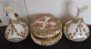 Victorian 1890 Wavecrest Boudoir Ceramic Jewelry Box & 2 Vases W/ Raised Flowers photo