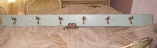 Antique Old Shabby French Farmhouse Chic Chippy Painted Coat Rack Brass Hooks photo