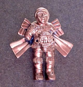 Ancient Alien Gold Brass Rocket Man Central American Pin photo