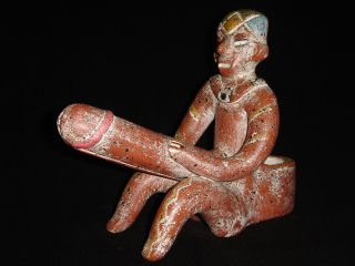 Phallic Figure Pipe Colored Terra Cotta Primitive Pre - Columbian Mexican Art photo