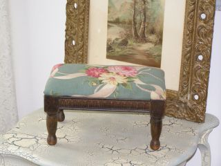 Sweetest Lil Antique Vintage Footstool Barkcloth Rose Carved Wood photo