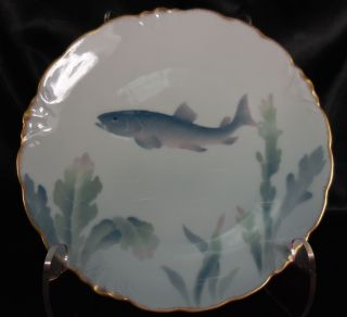 Antique Porcelain Fish Plate J&c Bavaria Vintage Dinnerware Pattern