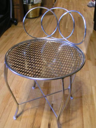 Vintage Mid Century Modern Hollywood Regency Brass Vanity Stool Chair photo