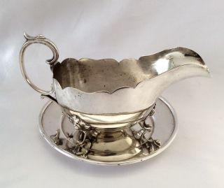 Antique Sheffield Silver Plated Gravy Boat & Saucer Joseph Rodgers C.  1890 photo