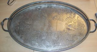 A Large Vintage Silver Plated Gallery Serving Tray - Cavalier.  20 photo