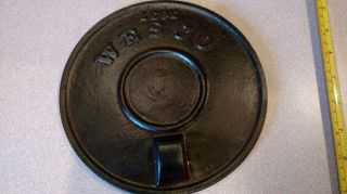 Antique Old Cast Iron Wesco Stove Circular Cover Plate photo