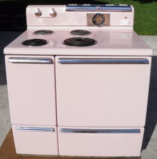 Vintage 1950s Ge Stove Oven Range Pink Electric 4 Burners Oven Clock Extra Parts photo