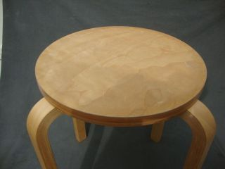 Round Stool/table Stacking Bentwood 4 Legs Natural Birch Wood 17.  5