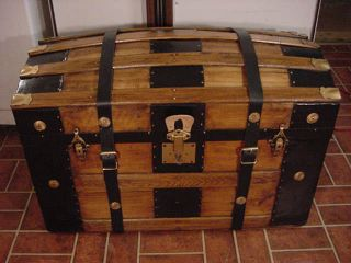 Ladycomet Victorian Refinished Dome Top Steamer Trunk Antique Chest W/key & Tray photo