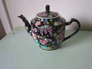 1960s Vintage Floral Chinese Teapot Black Jingdezhen Ceramic Or Porcelain 08 photo