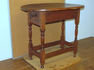 Rare 18th C William And Mary Stretcher Base Tavern Table Top And Feet photo