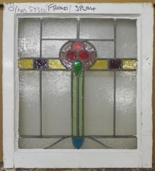 Mid Sized Old English Leaded Stained Glass Window Abstract Floral 20.  75